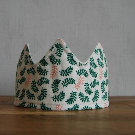 Couronne motif petites feuilles tons verts
